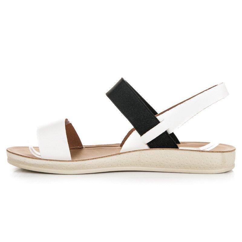 Sandały na gumkę vinceza białe | Sandały